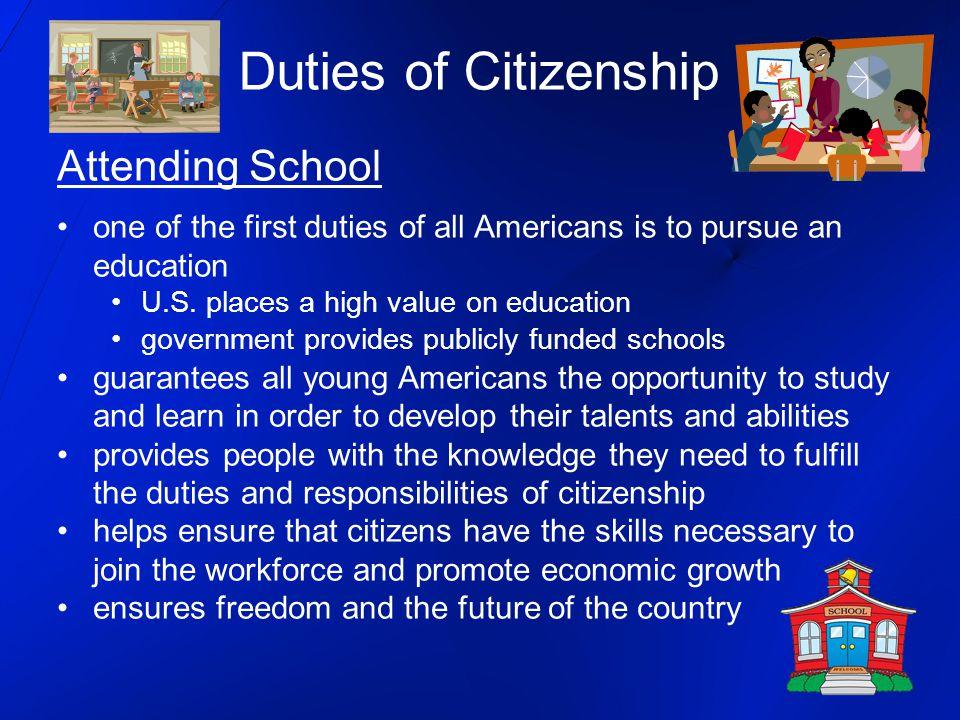Duties of Citizenship Attending School