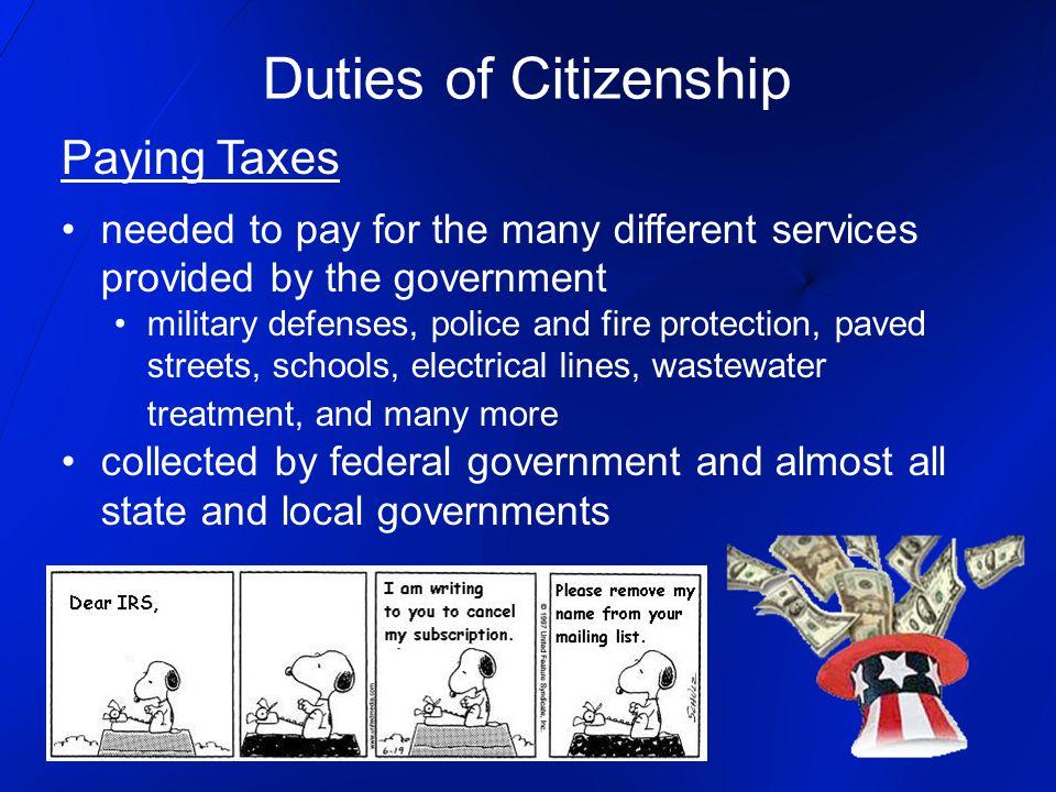 Duties of Citizenship Paying Taxes