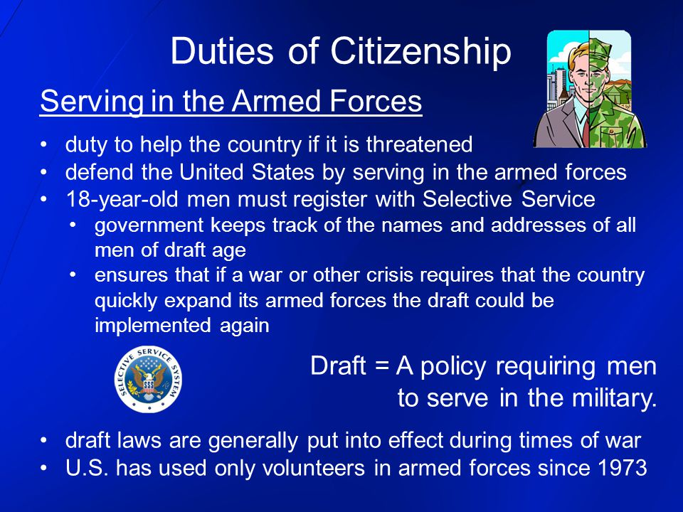 Duties of Citizenship Serving in the Armed Forces