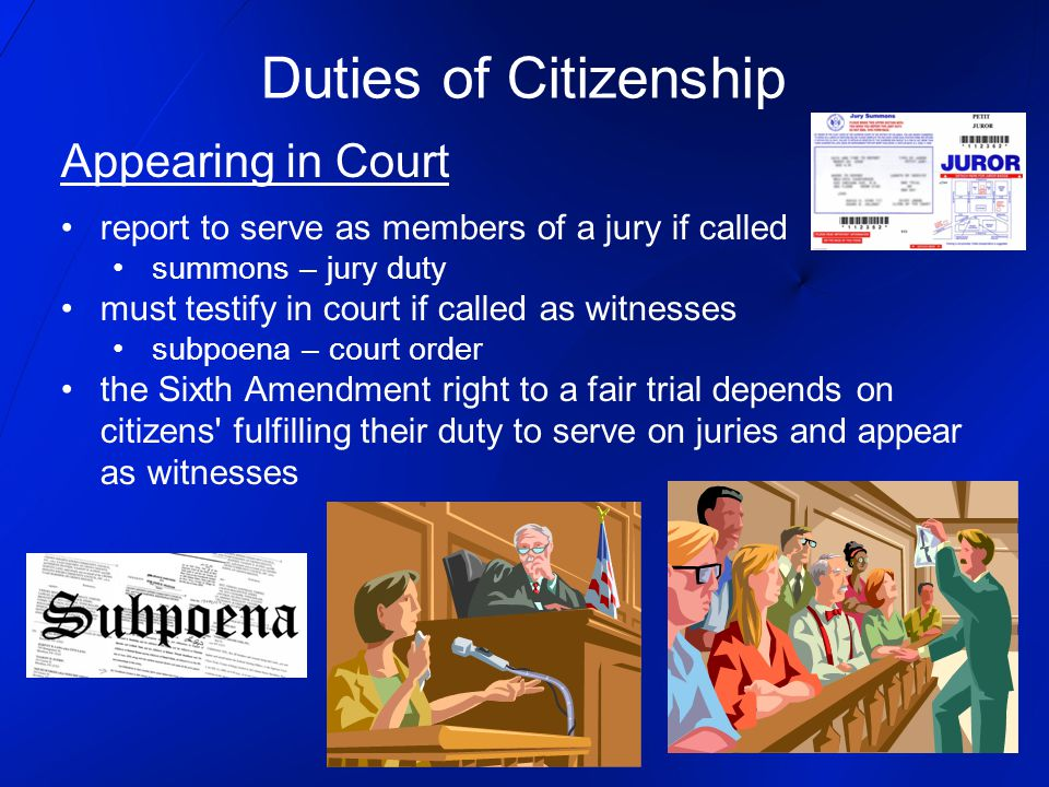 Duties of Citizenship Appearing in Court