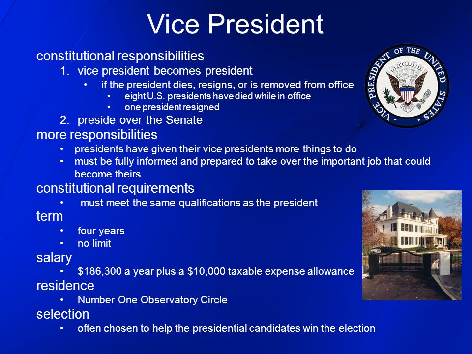Vice President constitutional responsibilities more responsibilities
