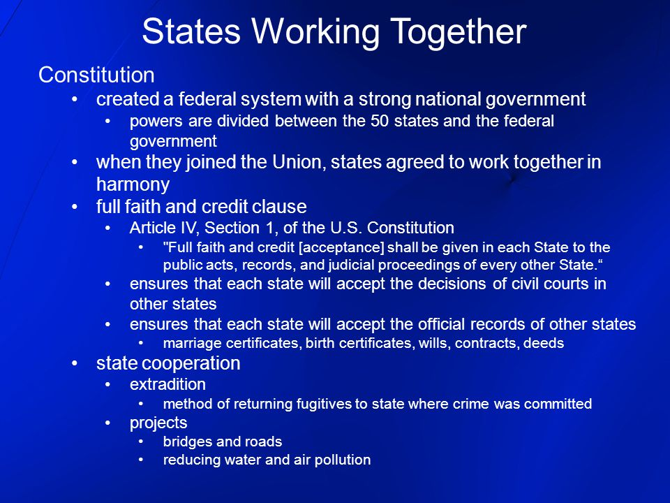 States Working Together