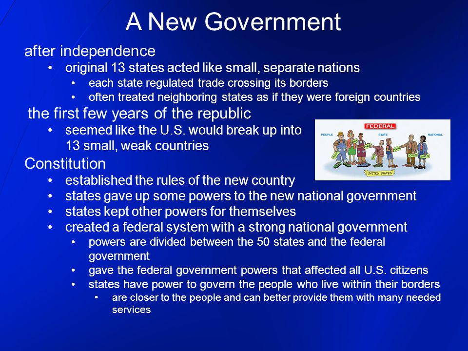 A New Government after independence Constitution