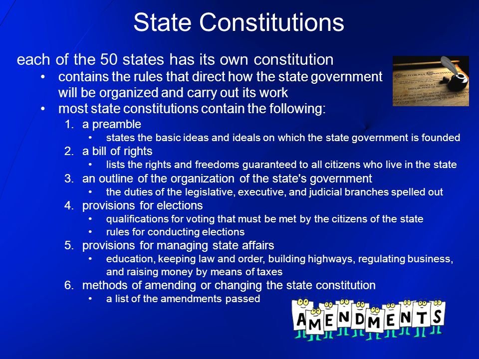 State Constitutions each of the 50 states has its own constitution