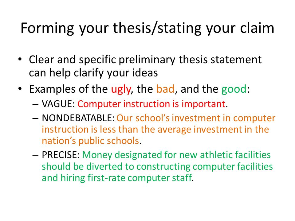 What is a sufficiently limited, specific and unified thesis statement?