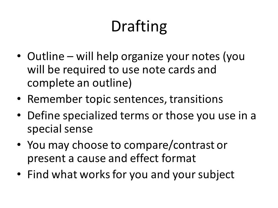 Drafting Outline – will help organize your notes (you will be required to use note cards and complete an outline)