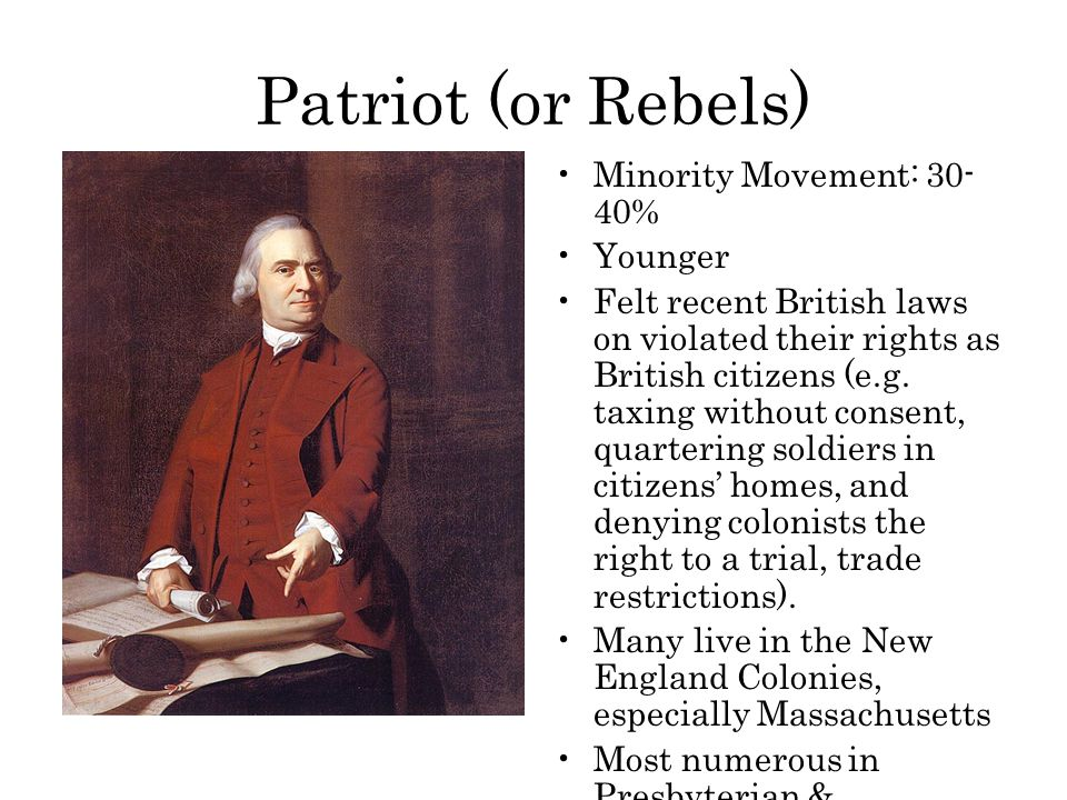 Patriot (or Rebels) Minority Movement: 30-40% Younger