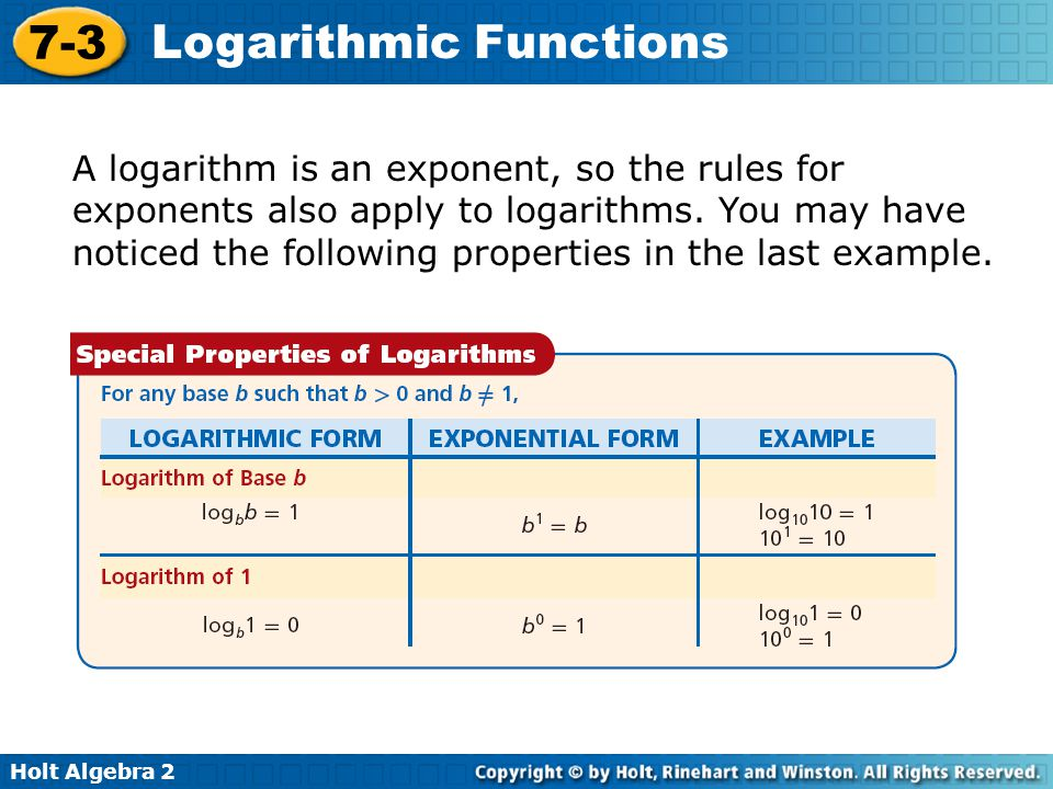 A logarithm is an exponent, so the rules for exponents also apply to logarithms.