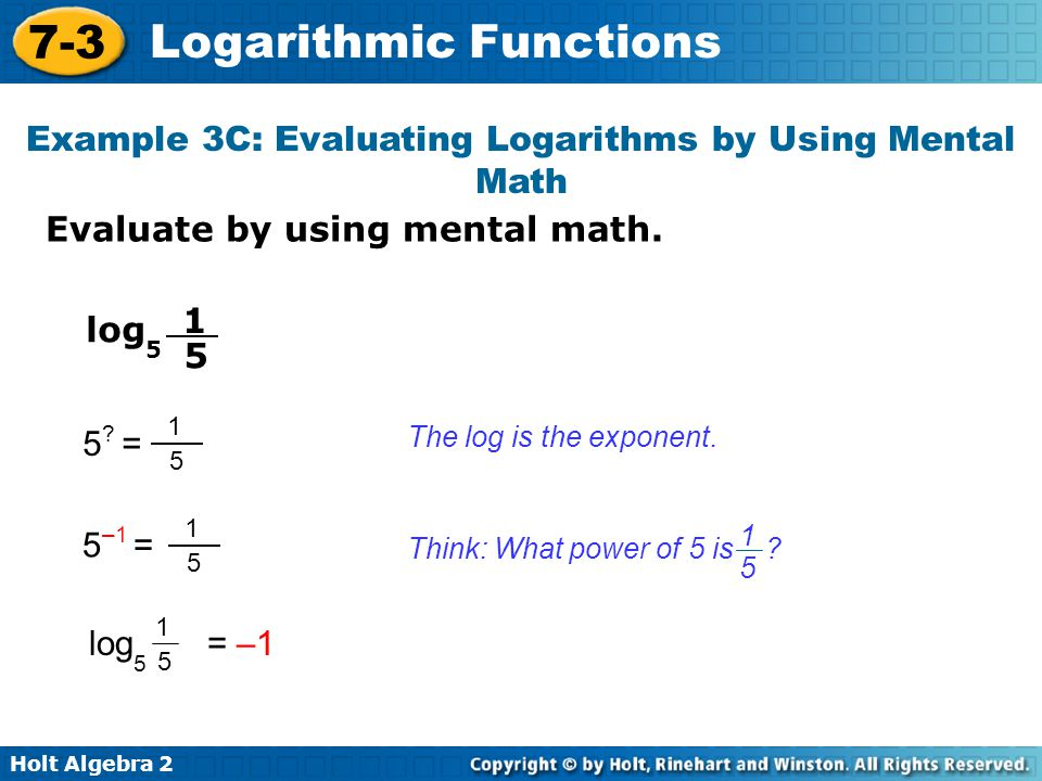 Example 3C: Evaluating Logarithms by Using Mental Math