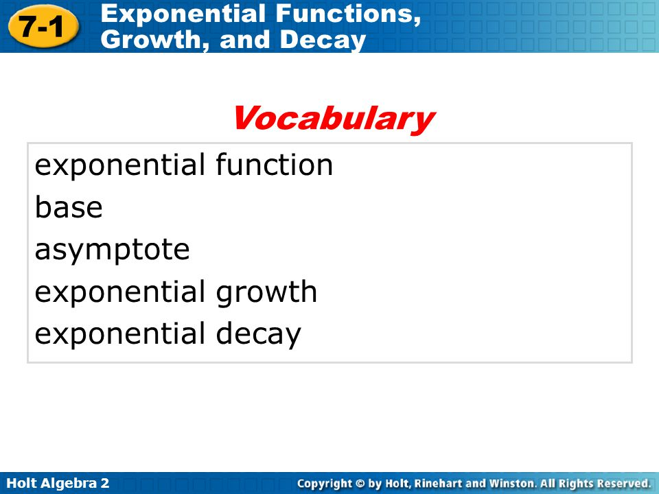Vocabulary exponential function base asymptote exponential growth