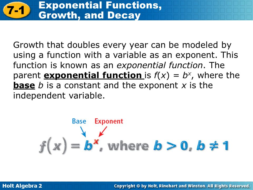 Growth that doubles every year can be modeled by using a function with a variable as an exponent.