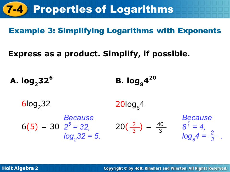 Example 3: Simplifying Logarithms with Exponents