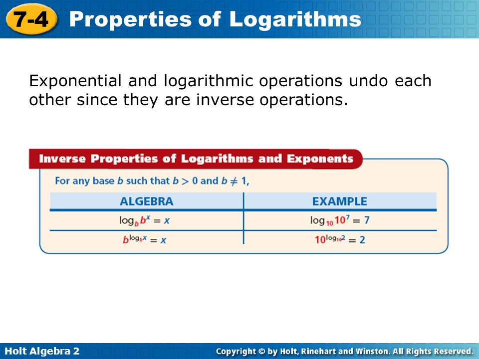 Exponential and logarithmic operations undo each other since they are inverse operations.