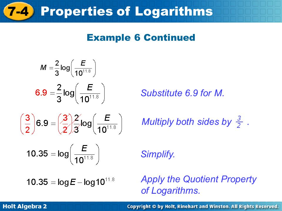 Apply the Quotient Property of Logarithms.