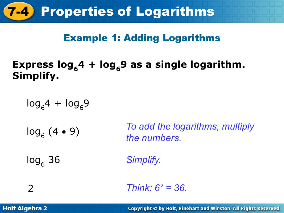 Example 1: Adding Logarithms