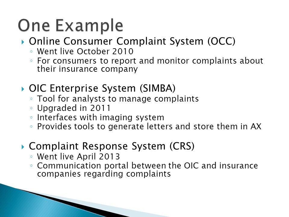 One Example Online Consumer Complaint System (OCC)