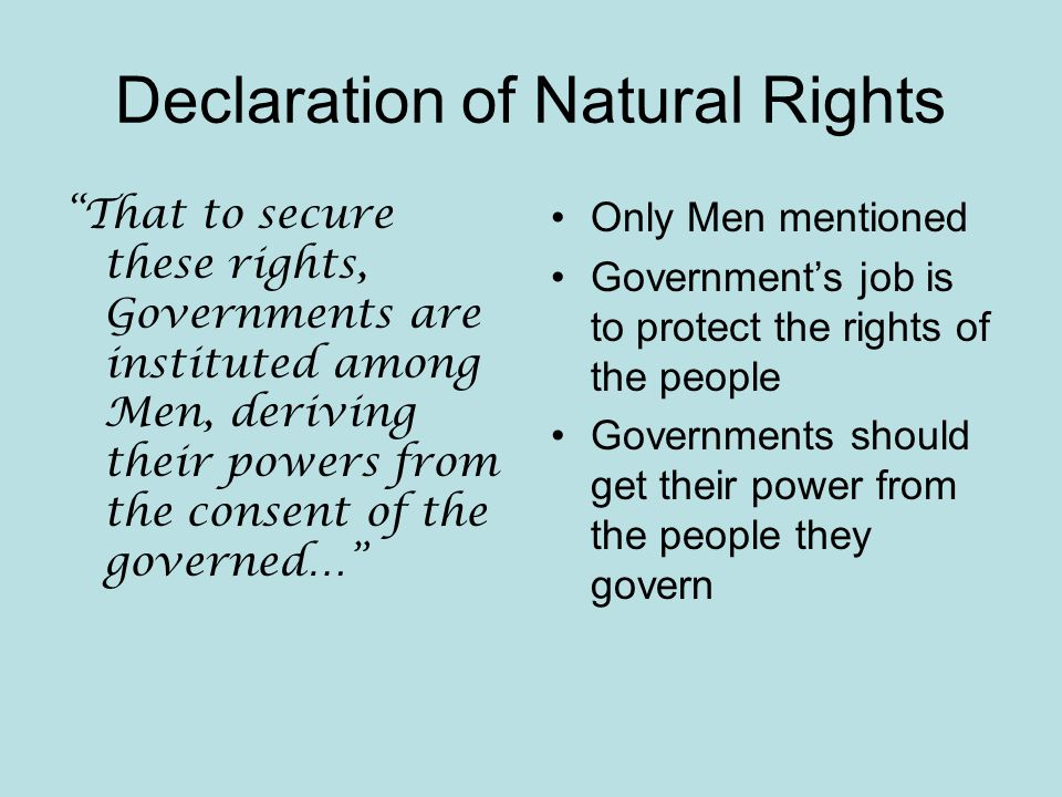 Declaration of Natural Rights