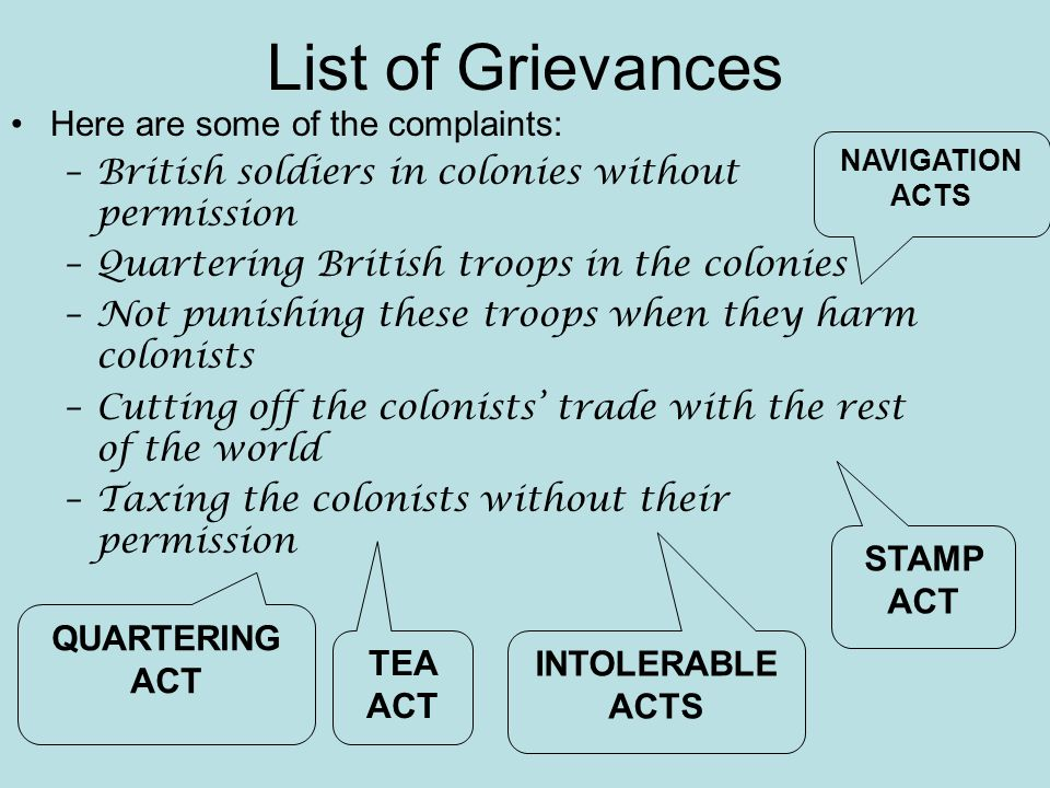 List of Grievances Here are some of the complaints: