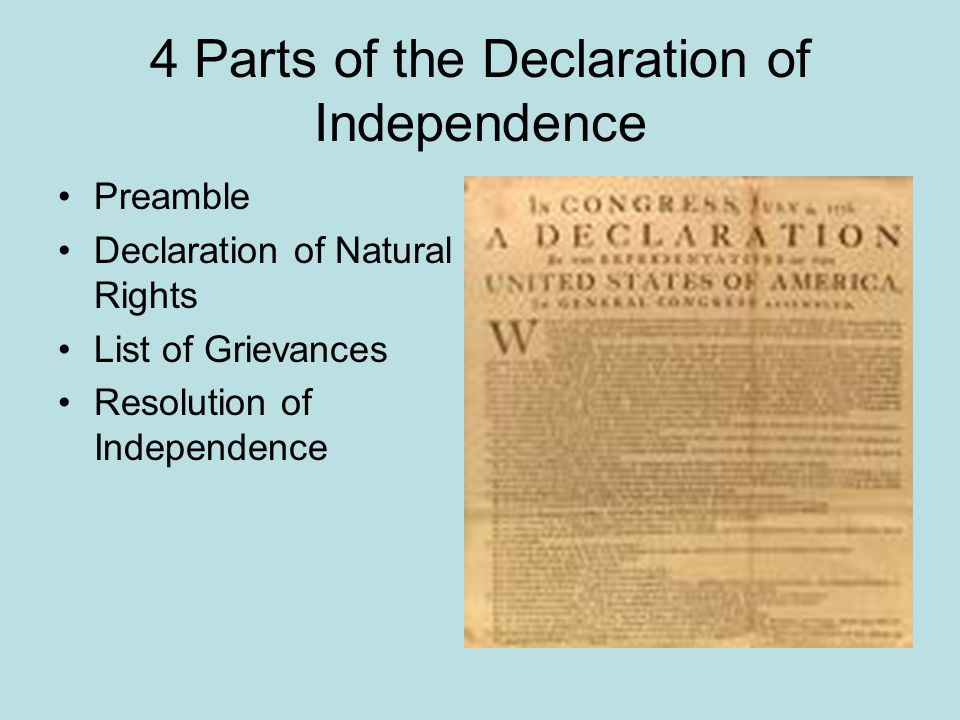 4 Parts of the Declaration of Independence