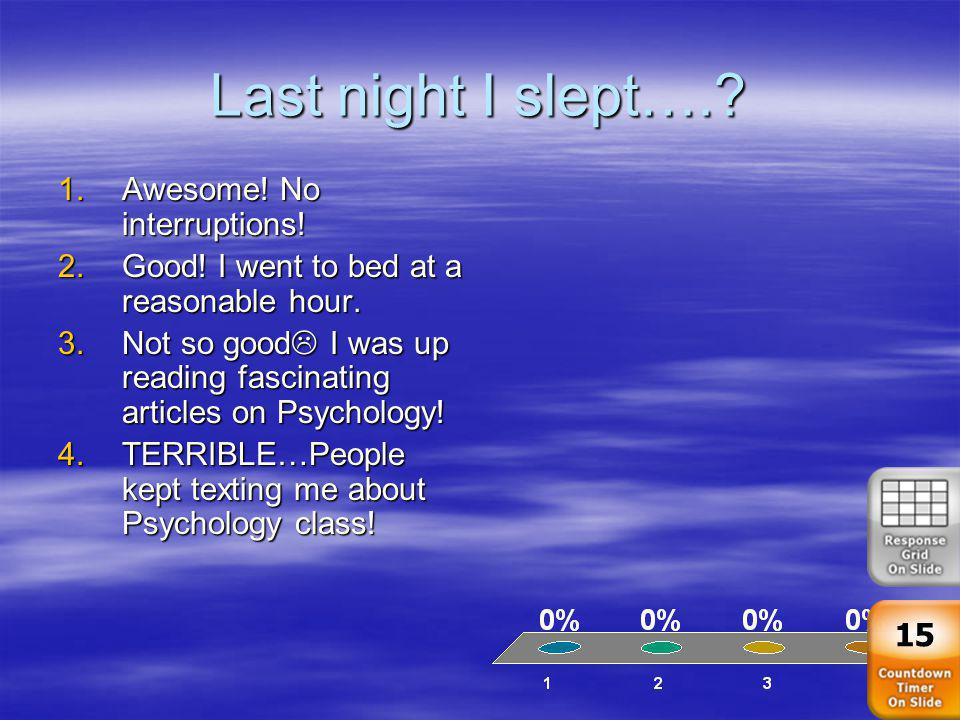 Last night I slept…. Awesome! No interruptions!