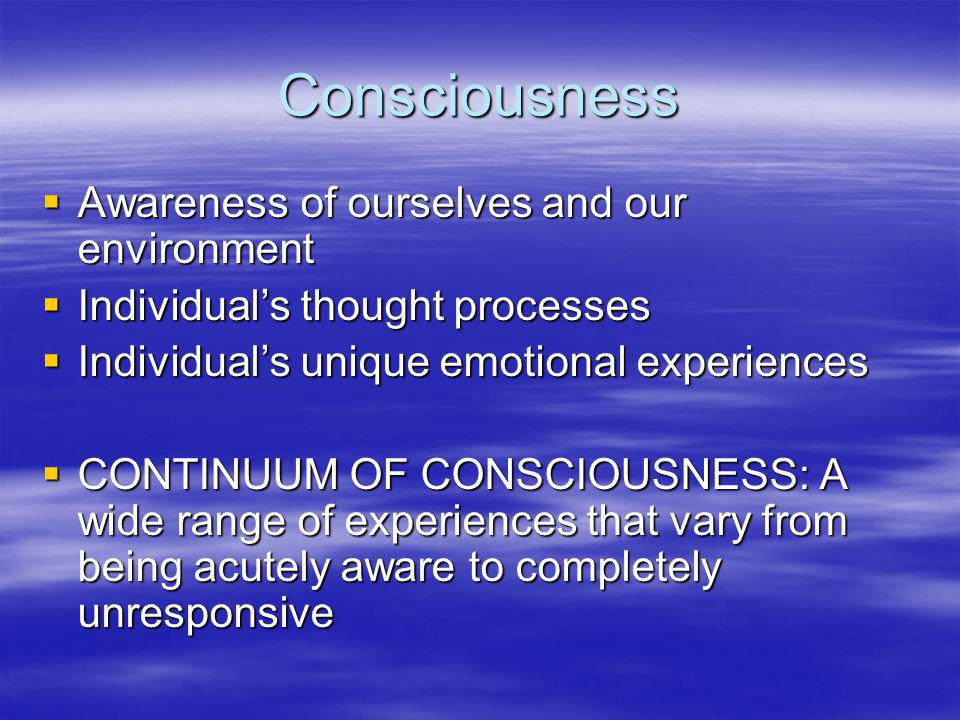 Consciousness Awareness of ourselves and our environment
