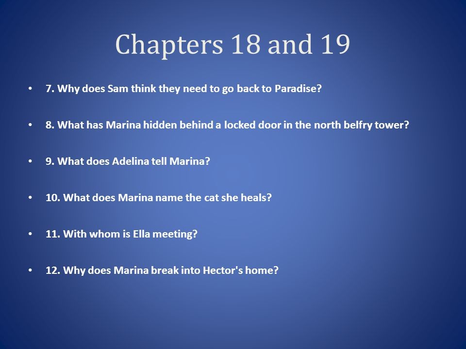 Chapters 18 and 19 7. Why does Sam think they need to go back to Paradise 8. What has Marina hidden behind a locked door in the north belfry tower