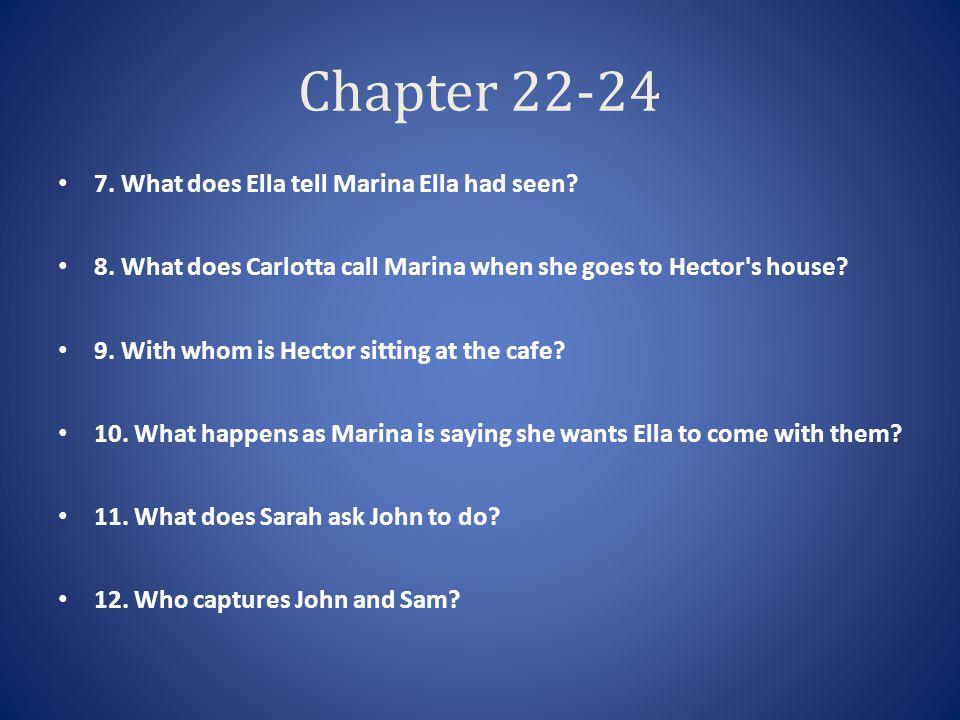Chapter 22-24 7. What does Ella tell Marina Ella had seen