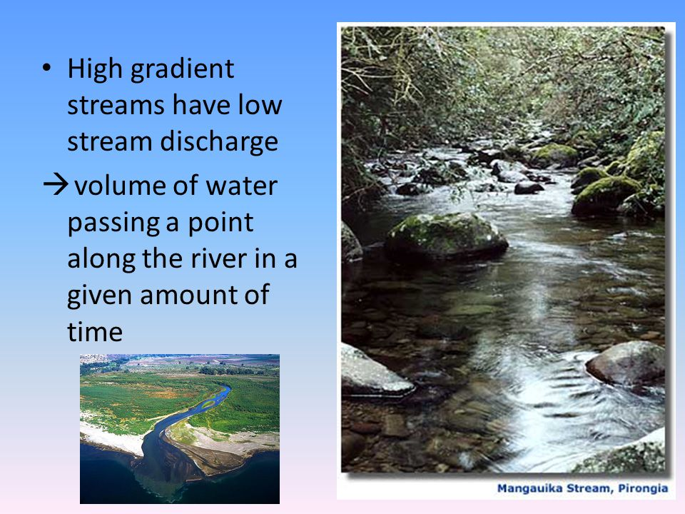 High gradient streams have low stream discharge