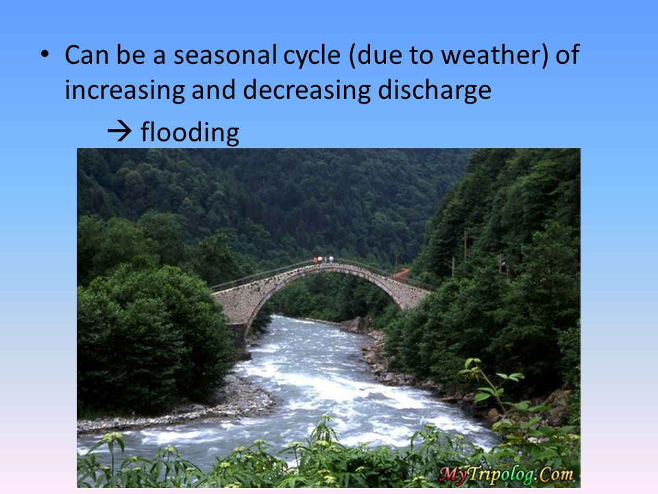 Can be a seasonal cycle (due to weather) of increasing and decreasing discharge