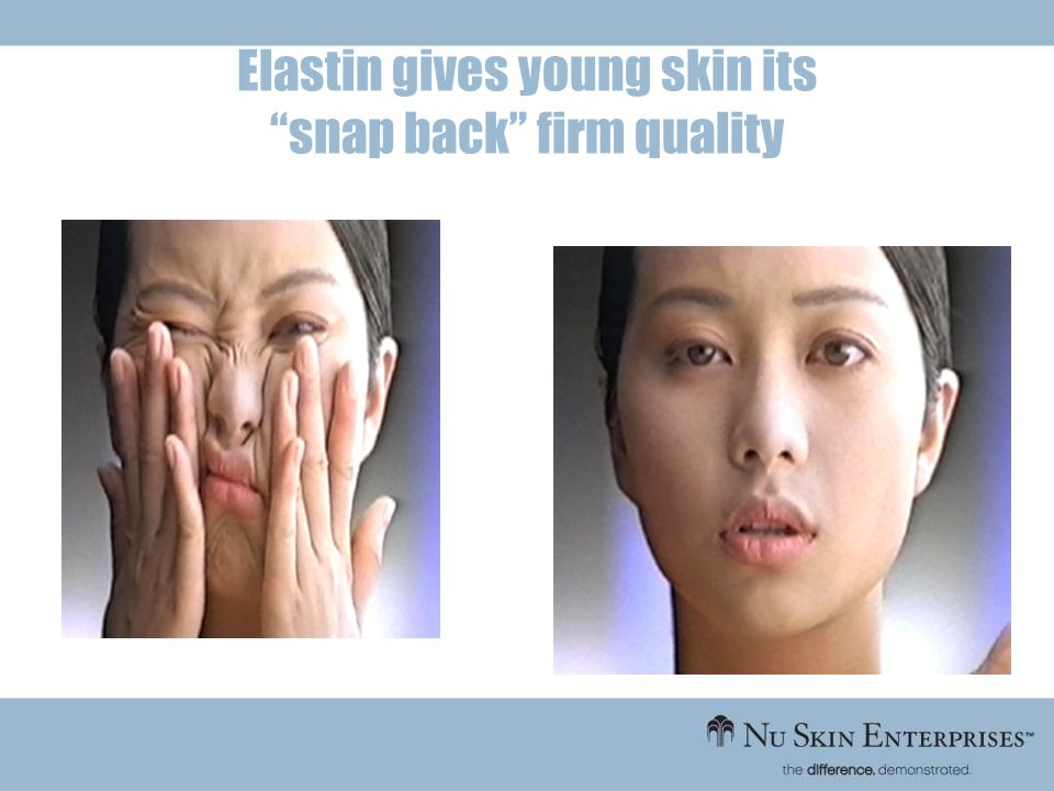 Elastin gives young skin its snap back firm quality