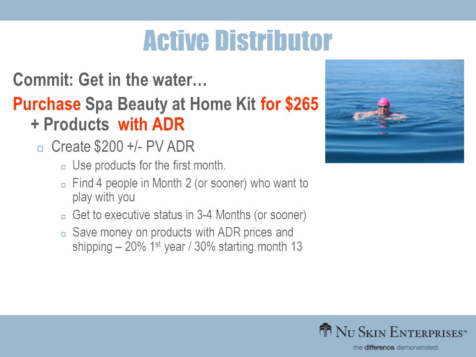 Active Distributor Commit: Get in the water…