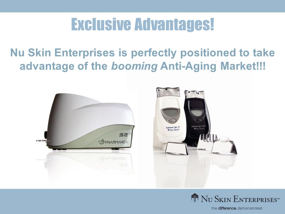 Exclusive Advantages! Nu Skin Enterprises is perfectly positioned to take advantage of the booming Anti-Aging Market!!!