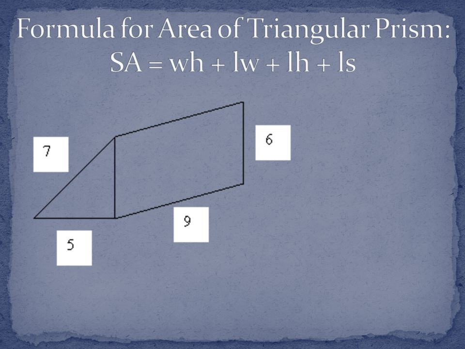 Formula for Area of Triangular Prism: SA = wh + lw + lh + ls