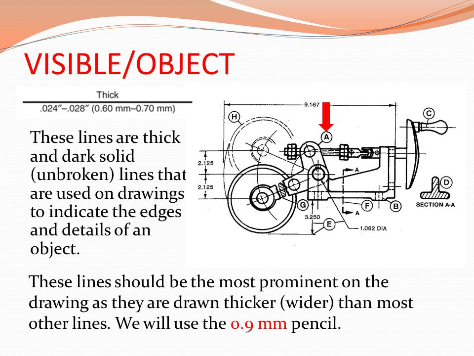 VISIBLE/OBJECT These lines are thick and dark solid (unbroken) lines that are used on drawings to indicate the edges and details of an object.