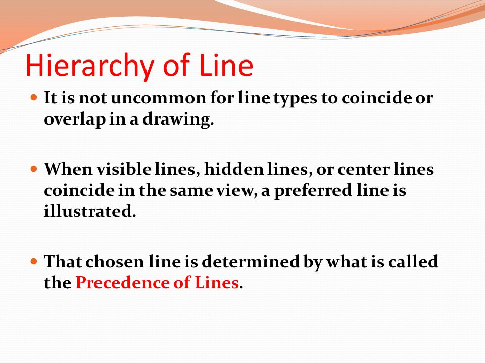 Hierarchy of Line It is not uncommon for line types to coincide or overlap in a drawing.