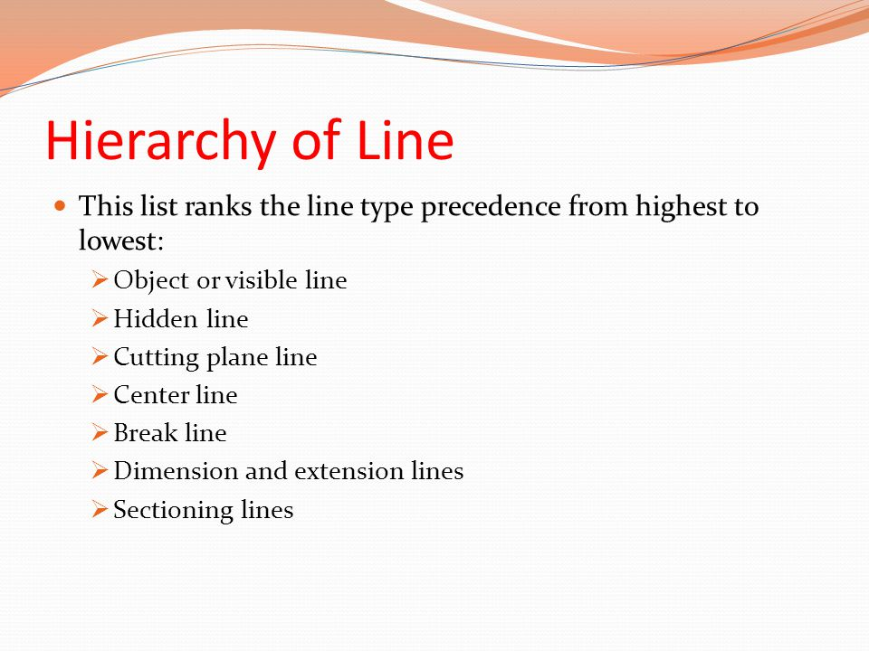 Hierarchy of Line This list ranks the line type precedence from highest to lowest: Object or visible line.