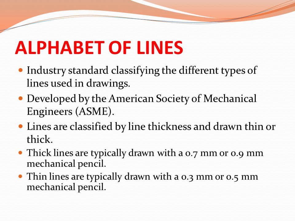 ALPHABET OF LINES Industry standard classifying the different types of lines used in drawings.