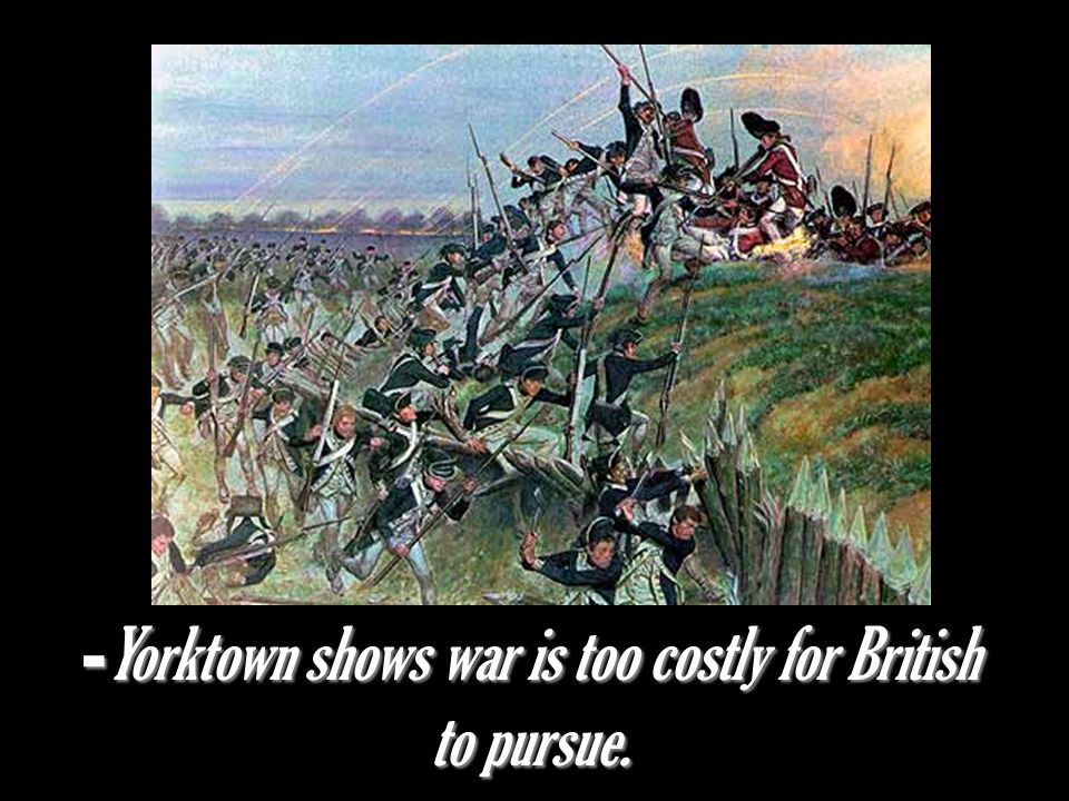 Yorktown shows war is too costly for British to pursue.