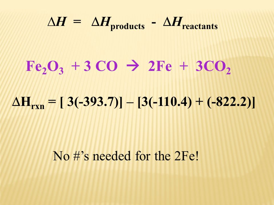Fe2O3 + 3 CO  2Fe + 3CO2 H = Hproducts - Hreactants