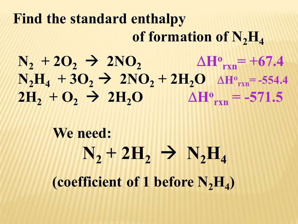 Find the standard enthalpy
