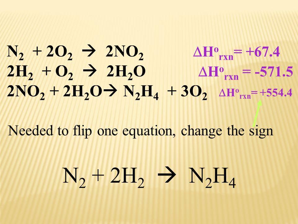N2 + 2H2  N2H4 N2 + 2O2  2NO2 Horxn= +67.4