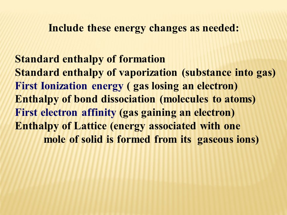 Include these energy changes as needed:
