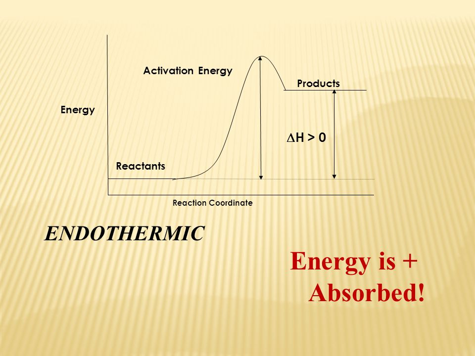 Energy is + Absorbed! ENDOTHERMIC H > 0 Activation Energy Products