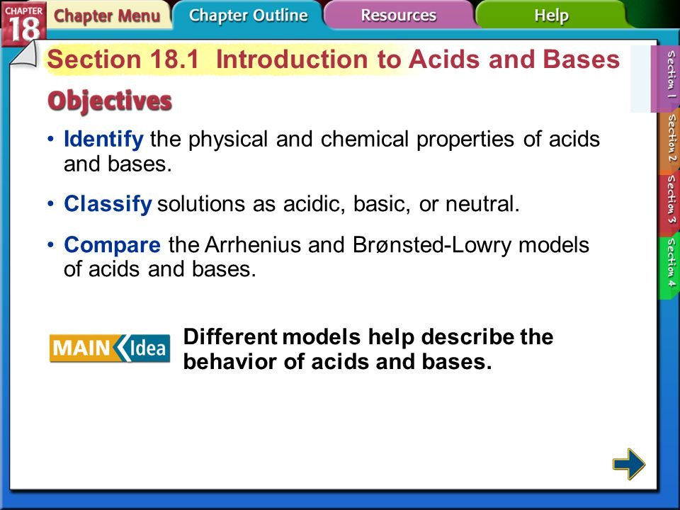 Section 18.1 Introduction to Acids and Bases