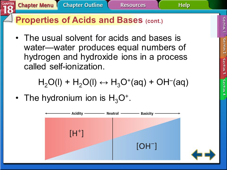 Properties of Acids and Bases (cont.)