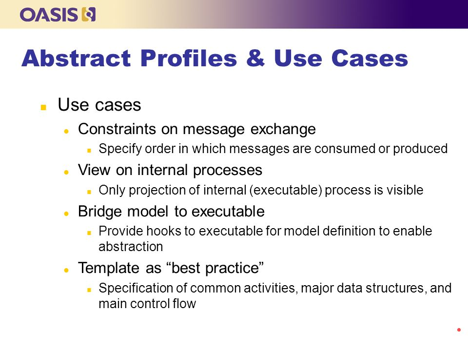 Abstract Profiles & Use Cases