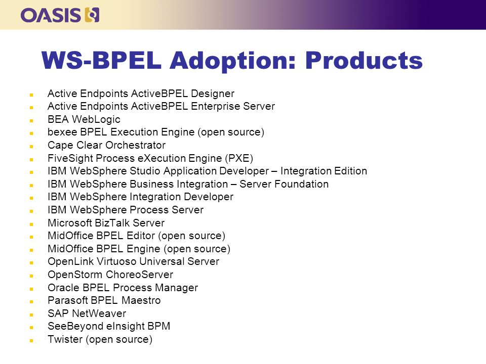 WS-BPEL Adoption: Products