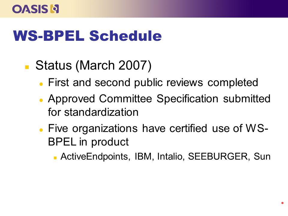 WS-BPEL Schedule Status (March 2007)