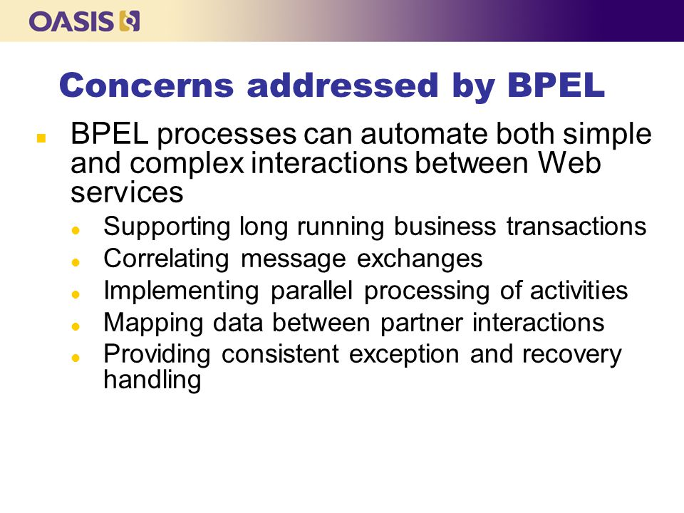 Concerns addressed by BPEL