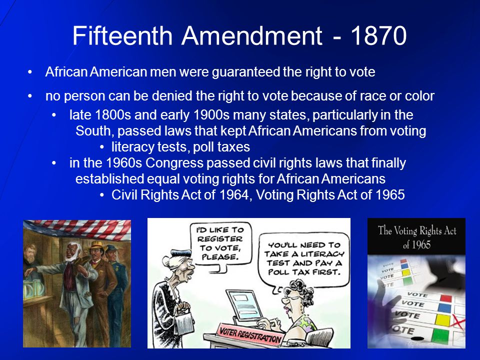 Fifteenth Amendment - 1870 African American men were guaranteed the right to vote.